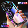 For iPhone 11 Pro Max XS XR 8 7 6S Magnetic Flip Metal Tempered Glass Case Cover
