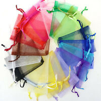 50 Sheer Organza Jewelry Packing Pouches Candy Gift Drawstring Bag Wedding Favor
