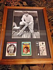 Vintage Babe Ruth Photo & 3 Collectible Baseball Cards Professionally Frame Mint