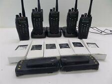 Lot Of 5 Motorola XPR6550 Digital Radios w/ 3 Charging Bases & Extra Batteries