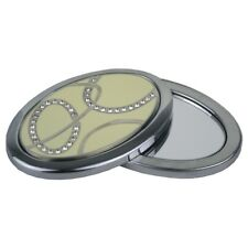 Compact Mirror - Cream & Crystal Twist (Oval) - Engraved Free