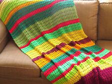 VTG Granny Square Crochet Afghan Lap Blanket Handmade Knit 46x77 Throw Quilt