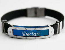 DECLAN - Mens Silicone & Blue Name Plate Engraved Bracelet - Gifts For Him