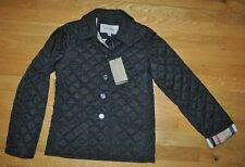 NWT Burberry Children Mini Westbury BLACK Quilted Nova Check Jacket Coat Girl 10