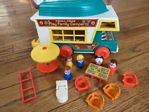 Fisher Price Little People Play set Family Camper truck furniture 994 VTG 1972