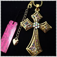 Betsey Johnson Crystal Cross Pendant charm Sweater chain necklac gift VD
