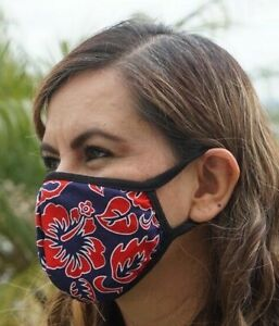 MADE IN USA, Face mask, Hawaiian Red Flower Print mouth nose cover, 100% Cotton