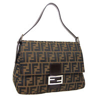 FENDI Zucca Mamma Baguette Hand Bag 214526325008 Brown Canvas Leather 34985
