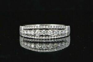 $2,050 14K White Gold 0.51ct Round Diamond 3 Row Cocktail Wedding Band Ring 7.5