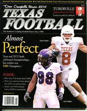 2010 Dave Campbell's Texas Football Mag Winter Shipley Texas Hughes TCU VG 22576