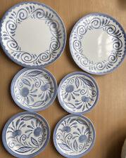 CORELLE OCEANVIEW 2x DINNER PLATE 4x SIDE DESSERT PLATES BLUE SCROLL CORNINGWARE