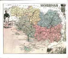 Réédition de gravure ancienne carte région département français Morbihan
