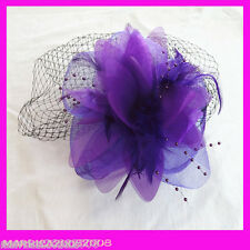 Purple Elegance Fascinators Feather Hat with Clip for Wedding and Party
