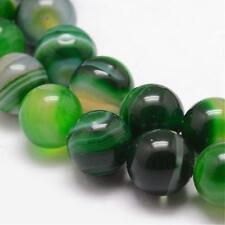 Natürliche Streifen Achat Perlen Rund Indische Grün 8mm Edelsteine G725