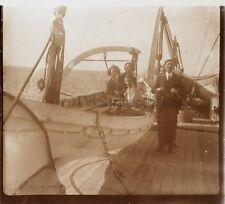 Sur le bateau PaquebotLe Lotus Tonkin France Photo L1 Plaque Stereo c1930