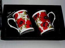 Poppy mug gift set 2 x bone china poppy chintz mugs - in black gift box