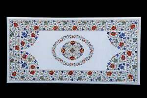 4'x2' White Marble Dining Table Top Multi Stone Floral Inlay Art With Stand W616