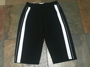 """0820 MADE FOR LIFE PM x 17"""" Black with White Trim Workout Active Crop Pants B"""