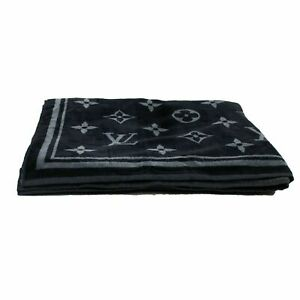 NEW LOUIS VUITTON Black And Gray Monogram Eclipse Beach Towel