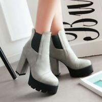 Womens Punk Round toe Chunky Block Heel Platform Zip Ankle Boots Casual shoes #