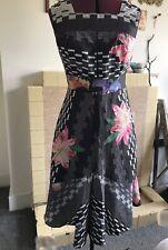 Impresionante cóctel vintage vestido Floral Verano Negro Rosa Flores UK10-12 EU38