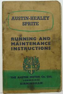 Austin Healey Sprite, Running & Maintenance Instructions. 1958 Original, Sound.