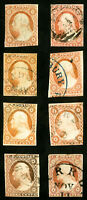 US Stamps # 11 Used F-VF Lot of 8x