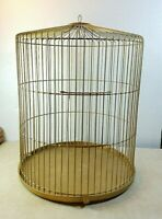 """Vintage BECO Round Bird Cage Metal Gold 15"""" Tall 12"""" Dia Hanging Or Table"""