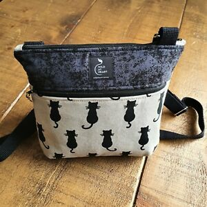 Cross body bag - Black cat design with zipped outer pocket. Handmade.