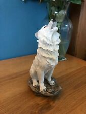 Howling White Wolf Figurine Wolves Ornament Decor New & Boxed 20cm