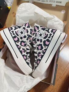 Converse Chuck All Star HI Platform Leopard Pink NEW 568002C Womens Size US6