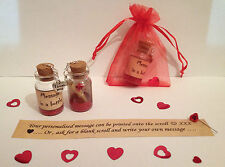 Personalised 'I love you' message in a bottle. Anniversary romantic gift /card