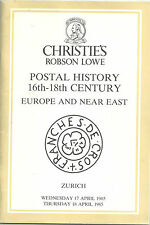 Catalogo asta storia postale 16th 18th C L'EUROPA vicino Oriente Robson LOWE 1985