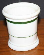 Vintage Medco NY Mustard Marmalade Jelly Jar White Milk Glass Green Stripes EXC