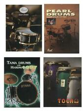 4 Catalogues pour Batteurs :  Pearl Snare Drums. Tama Drums and Hardware. Toca