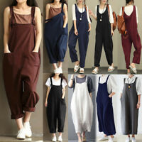 3379a11b064 Women s Casual Loose Pants Cotton Jumpsuit Harem Trousers Overalls Pants  Fashion