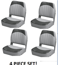 Folding Boat Seats 4-PC Boat Fishing Pontoon Set CHARCOAL Embossed Vinyl Wise