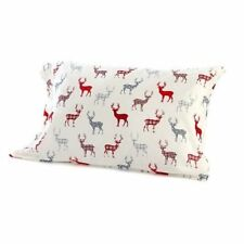 Christmas Holiday Reindeer White, Red & Gray Plaid Queen Sheet Set (4 Piece Set)