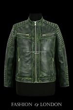 Racer Mens Leather Jackets Green Vintage Hide Classic Casual Fashion Biker Style