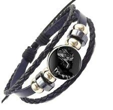 Marvel's Black Panther Wakanda King T'Challa Glass Domed Braided Leather Bracele