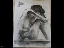 Original large charcoal drawing-Art 65x50cm Male nude-man