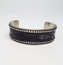 Dark Purple Enamel Cuff Bracelet Navajo Celina Yazzie Sterling Silver