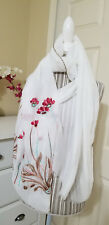 Bohemian Ivory Glittering Floral Embroidered Long Scarf Shawl Wrap Cover Up