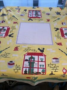 Barkcloth Vintage Tablecloth 46 X 60 Inches Mid Century Modern MCM Clock Clean