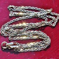 "14k multi tone gold necklace 18.0"" diamond cut gucci link chain vintage 1.2gr"