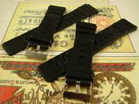 2 BLACK DEEP DIVE NOS MENS DIVERS BANDS RUBBER STRAP STEEL BUCKLE 20mm 60s/70s