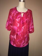 Ann Taylor Loft Red Pink Floral 3/4 Sleeve Front Ruffle Blouse Sz. S