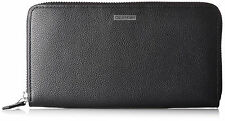 NEW CALVIN KLEIN METAL LOGO BLACK LEATHER ZIP AROUND WOMEN MEN WALLET CK 79441