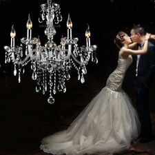 Clear Crystal Chandelier Lighting 6 Lights Fixture Pendant Ceiling Lamp Lighting