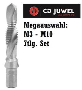 CD Juwel Kombi-Gewindebohrer HSS-G Gewindeschneider [M3 - M10] oder Set 7-teilig